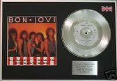 "BON JOVI- LIVIN' ON A PRAYER - 7"" Platinum Disc+cover"